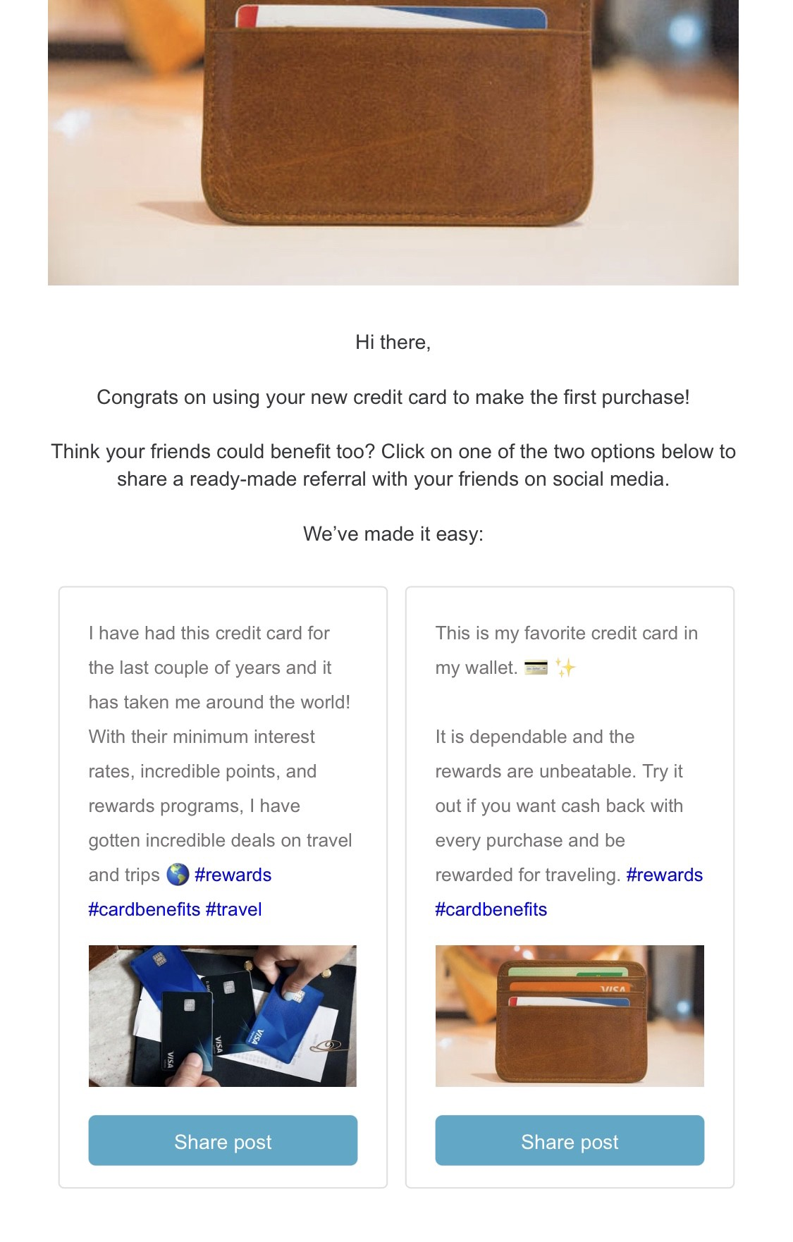 Example of referral email with embedded ready-made posts